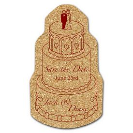 Promotional Wedding Cake Medium Cork Coaster