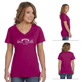 Customized Anvil 392A 3.2 oz Ladies Sheer Combed Ringspun V-Neck T-Shirt