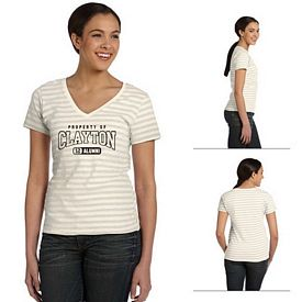 Customized Anvil 8823 5 oz Ladies Striped V-Neck T-Shirt