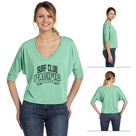 Customized Bella 8825 Ladies' Flowy Boxy Half-Sleeve V-Neck T-Shirt