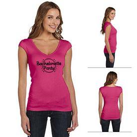Customized Bella B8705 Ladies' Sheer Mini Rib Cap-Sleeve Deep V-Neck T-Shirt