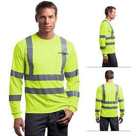 Customized CornerStone CS409 ANSI 107 Class 3 Long Sleeve Snag-Resistant Reflective T-Shirt