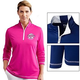 Customized Cutter & Buck LCK02367 Ladies CB DryTec L/S Choice Zip Mock