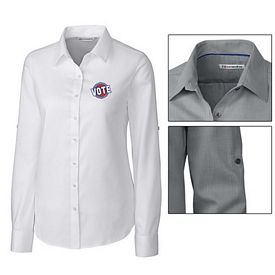 Customized Cutter & Buck LCW04149 Ladies Epic Easy Care Mini Herringbone Shirt
