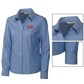 Customized Cutter & Buck LCW08395 Ladies Epic Easy Care Pin Stripe Shirt