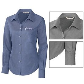 Customized Cutter & Buck LCW08399 Ladies Epic Easy Care Royal Oxford Shirt