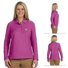Customized Devon & Jones D110W Ladies Pima Pique Long-Sleeve Polo