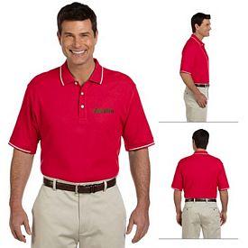 Customized Devon & Jones D113 Mens Pima Pique Short-Sleeve Tipped Polo