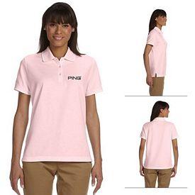Customized Devon & Jones D113W Ladies Pima Pique Short-Sleeve Tipped Polo