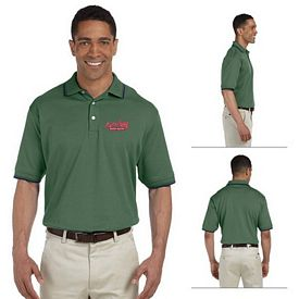 Customized Devon & Jones D140 Mens Tipped Perfect Pima Interlock Polo
