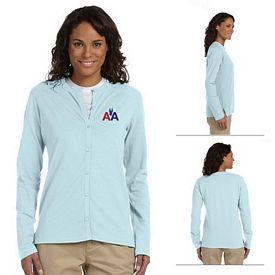 Customized Devon & Jones DP170W Ladies Stretch Jersey Long-Sleeve Cardigan