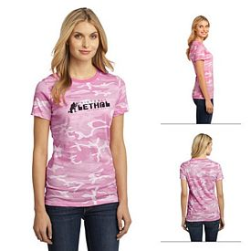 Customized District Made DM104CL Ladies' Perfect Weight Camo Crew Tee