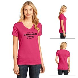 Customized District Made DM1170L Ladies' Perfect Weight V-Neck Tee