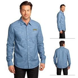 Customized District Made DM3800 Men's Long Sleeve Washed Woven Shirt