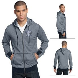 Customized District Made DM390 Men's Mini Stripe Full-Zip Hoodie