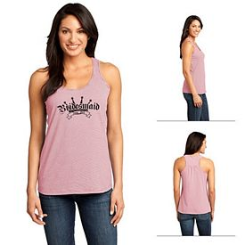 Customized District Made DM421 Ladies' Mini Stripe Gathered Racerback Tank