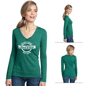 Customized District Made DM472 Ladies' Textured Long Sleeve V-Neck with Button Detail