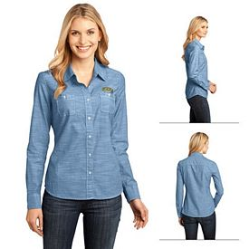 Customized District Made DM4800 Ladies' Long Sleeve Washed Woven Shirt