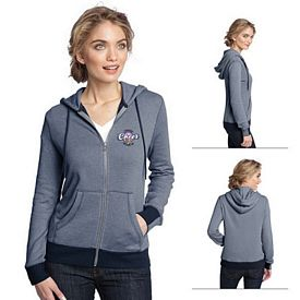 Customized District Made DM490 Ladies' Mini Stripe Full-Zip Hoodie