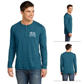 Customized District DT1401 Young Men's Gravel 50/50 Long Sleeve Henley Tee