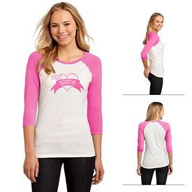 Customized District DT228 Junior Ladies' 50/50 3/4-Sleeve Raglan Tee