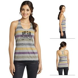 Customized District DT229 Junior Ladies' Reverse Striped Scrunched Back Tank