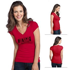 Customized District DT247 Junior Ladies' Cotton/Spandex Banded V-Neck Tee