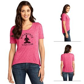Customized District DT260 Junior Ladies' Microburn Wide Neck Hi/Lo Tee