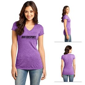 Customized District DT261 Junior Ladies' Microburn V-Neck Cap Sleeve Tee