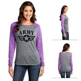 Customized District DT262 Junior Ladies' Microburn Long Sleeve Raglan Tee