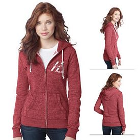 Customized District DT292 Junior Ladies' Marled Fleece Full-Zip Hoodie