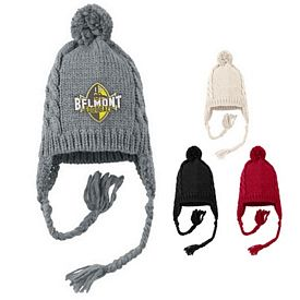 Customized District DT617 Cabled Beanie with Pom