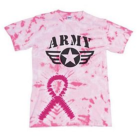 Customized Dyenomite 200AR Pink Awareness Ribbon Tie-Dye T-Shirt