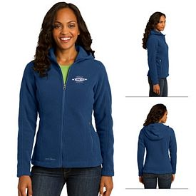 Customized Eddie Bauer EB206 Ladies' Hooded Full-Zip Fleece Jacket