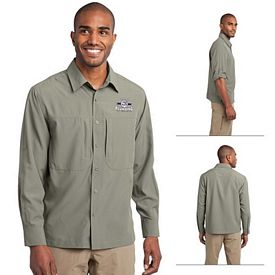 Customized Eddie Bauer EB604 Long Sleeve Performance Travel Shirt
