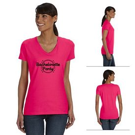Customized Fruit of the Loom L39VR Ladies' 5 oz 100% Heavy Cotton HD V-Neck T-Shirt