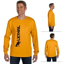 Customized Hanes 5596 6.1 oz Tagless ComfortSoft Long-Sleeve Pocket T-Shirt