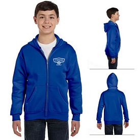 Customized Hanes P480 Youth 7.8 oz ComfortBlend EcoSmart 50/50 Full-Zip Hood