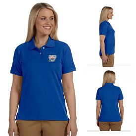 Customized Harriton M100W Ladies 6.5 oz Ringspun Cotton Pique Short-Sleeve Polo