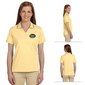 Customized Harriton M140W Ladies 5.9 oz Cotton Jersey Short-Sleeve Polo with Tipping