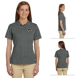 Customized Harriton M200W Ladies 6 oz Ringspun Cotton Pique Short-Sleeve Polo