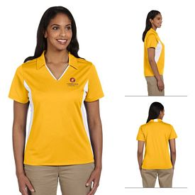 Customized Harriton M355W Ladies 3.8 oz Side Blocked Micro Pique Polo