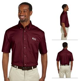 Customized Harriton M500S Mens Short-Sleeve Twill Shirt with Stain-Release