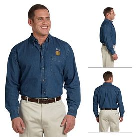 Customized Harriton M550 Mens Long-Sleeve Denim Shirt
