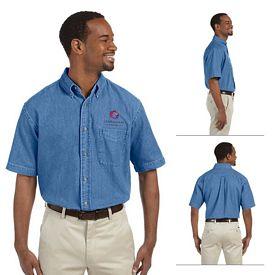 Customized Harriton M550S Mens Long-Sleeve Denim Shirt