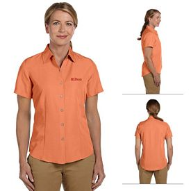 Customized Harriton M560W Ladies Barbados Textured Camp Shirt