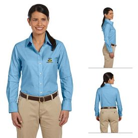Customized Harriton M600W Ladies Long-Sleeve Oxford with Stain-Release