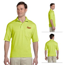 Customized Jerzees 436P 5.6 oz 50/50 Jersey Pocket Polo with SpotShield