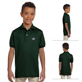 Customized Jerzees 437Y Youth 5.6 oz 50/50 Jersey Polo with SpotShield