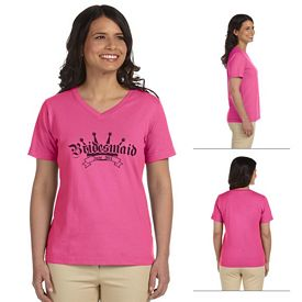 Customized LAT L-3587 Ladies' Combed Ringspun Jersey V-Neck T-Shirt